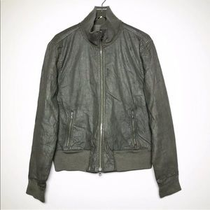 John Varvatos Coated Bomber Jacket In Army Green